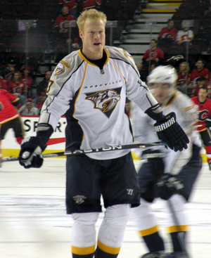 Nashville Predators forward Wade Belak prior t...