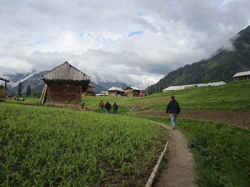 File:Walking through fields in Arang Kel Azad Kashmir 2.JPG