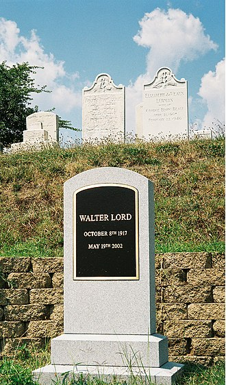 Walter Lord - Lord's grave in the family plot at Green Mount Cemetery
