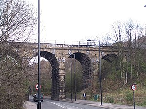 Sheffield, Ashton-under-Lyne and Manchester Railway - Wardsend Viaduct, Herries Road, Sheffield, built by Joseph Locke in 1845