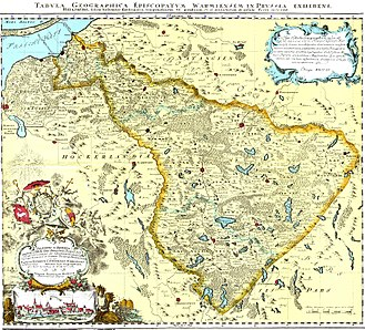 Warmia - Map of Episcopatum Warmiensem in Prussia by Endersch, 1755. Yellow tags with modern-day Polish names were added later
