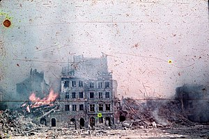 Warsaw Uprising - Old Town in Warsaw in flames during the Warsaw Uprising.