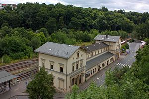 Lahn Valley Railway - Entrance building of Weilburg station in the style of Heinrich Velde