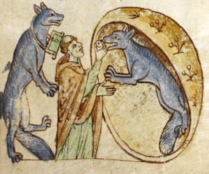Topographia Hibernica - An illustration depicting the story of a travelling priest who meets and communes a pair of good werewolves from the Kingdom of Ossory. From British Library Royal MS 13 B VIII.