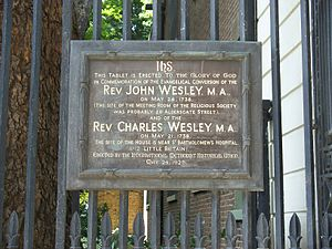 Charles Wesley - Plaque at Postman's Park, London, commemorating John and Charles Wesley