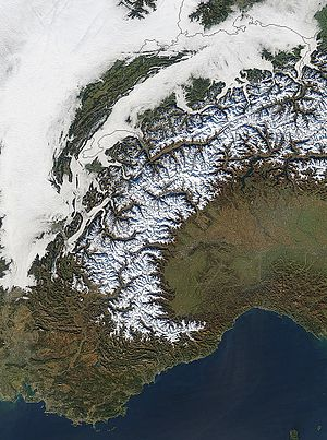 Western Alps - Image: Western alps from space