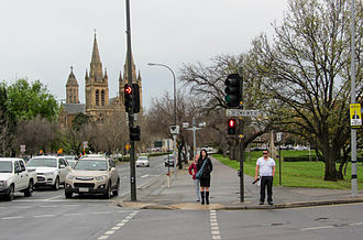 St Peter's Cathedral, Adelaide - The cathedral from King William Road, September 2013
