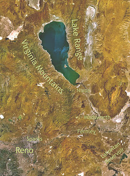 Satellietfoto van Pyramid Lake in Nevada
