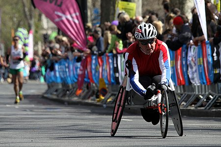 Wheelchair racer during 2013 London Marathon