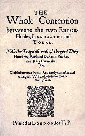 Thomas Pavier - The Whole Contention Between the Two Famous Houses of York and Lancaster (1619), published by Pavier with William Jaggard as part of the False Folio of 1619.