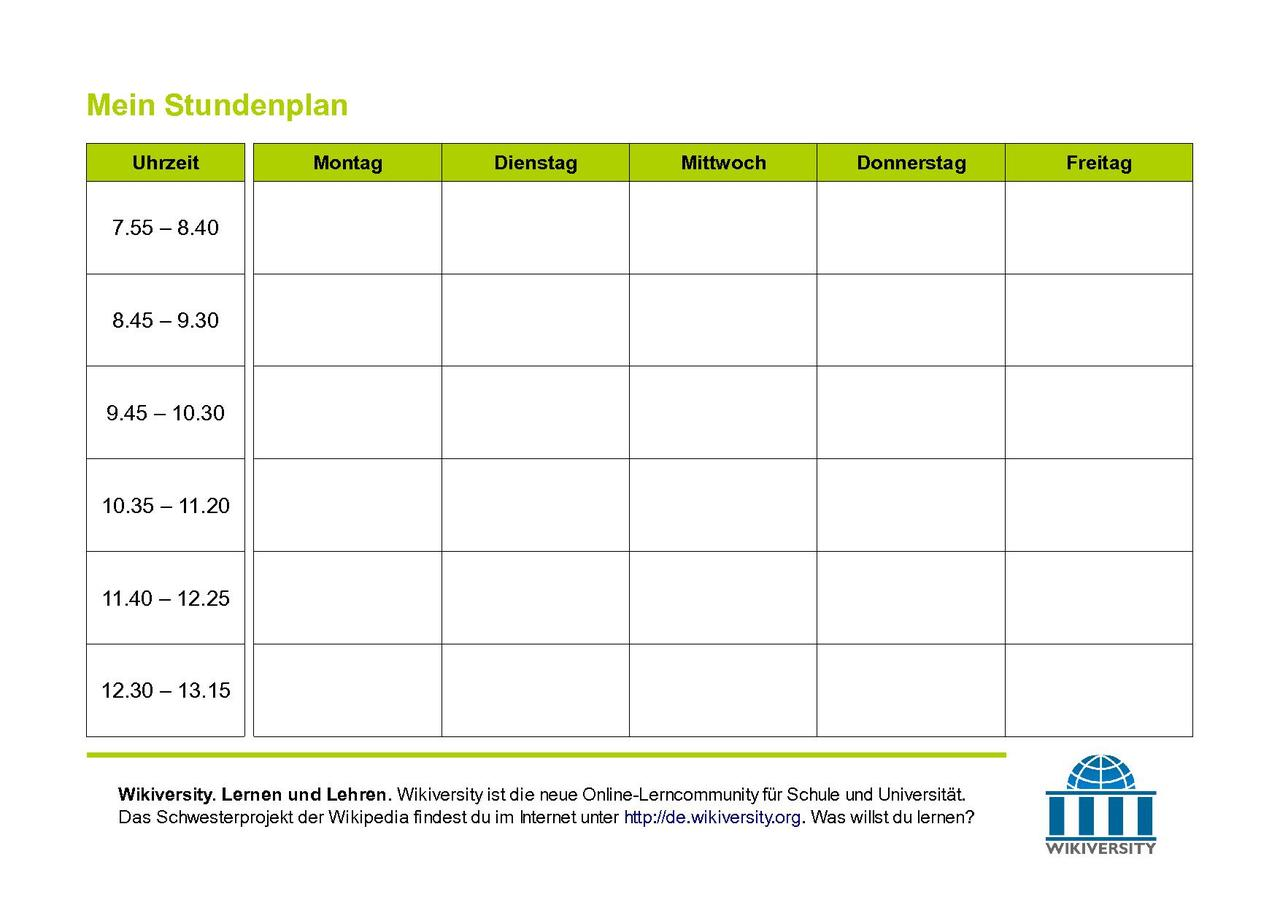 Charmant Leere Schule Stundenplan Vorlage Bilder - Entry Level ...