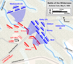 5 a.m., May 6. Hancock attacks Hill on the Plank Road