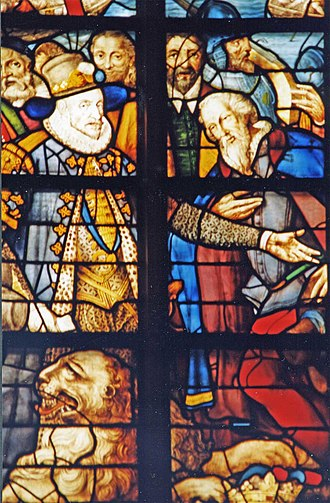 Isaac Claesz. van Swanenburg - Detail of Glass 25, William of Orange freeing townspeople from Spanish tyranny after the siege of Leiden