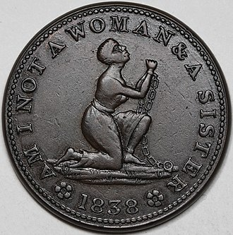 "Isabella quarter - 1838 anti-slavery token ""Am I not a woman and a sister"""