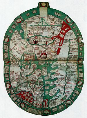Ranulf Higden - World map in a late 14th-century manuscript of Ranulf's Polychronicon (British Library)