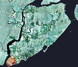 Tottenville, Staten Island - The neighborhood of Tottenville in Staten Island is shown highlighted in orange