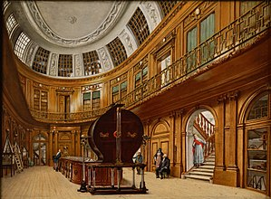 Leendert Viervant the Younger - Painting by the museum art curator Wybrand Hendriks in 1800 of the famous Oval Room in Teyler's Museum, showing the elektriseermachine of Martin van Marum