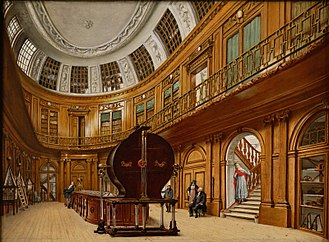 Teylers Museum - Painting by the museum art curator Wybrand Hendriks in 1800 of the famous Oval Room in  Teylers Museum, showing the electrostatic generator of Martin van Marum