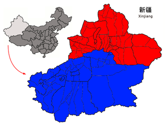 Altishahr - Dzungaria (Red) and the Tarim Basin (Blue)