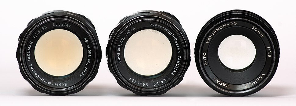 Three lenses from yellowed to transparent left-to-right