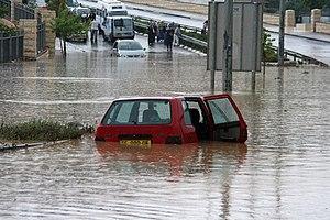 Flood control - Flood blocking the road in Jerusalem