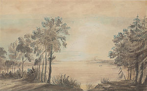 Elizabeth Simcoe - A 1793 watercolour painting by Simcoe of York Harbour before settlement. York would become the city of Toronto