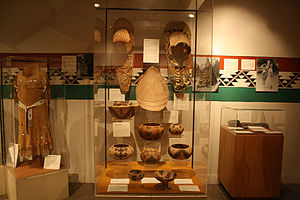 Yosemite Museum - Yosemite Museum display of clothing, baskets, cradle boards, and tools of the Ahwahnechee people.