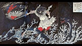 Princess and dragon - Susanoo slaying the Yamata no Orochi, by Yoshitoshi