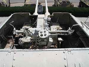 ZSU-57-2 - Detailed view of the twin S-68 guns of a Syrian or Egyptian ZSU-57-2 SPAAG which was captured by the Israeli army. (Picture taken at the Yad la-Shiryon Museum, Israel, 3 May 2006).