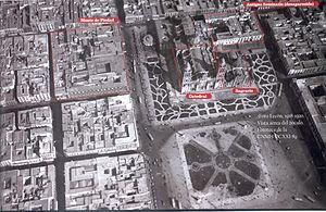 Toma aerea del zocalo de la ciudad de México, ...