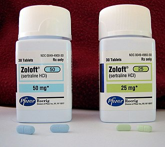 Psychoactive drug - Zoloft (sertraline) is an SSRI antidepressant.