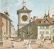 The Zytglogge's west façade in 1830, after the 1770 restructuring.