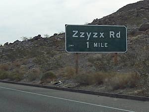 Roadgeek - Zzyzx Road exit sign on Interstate 15