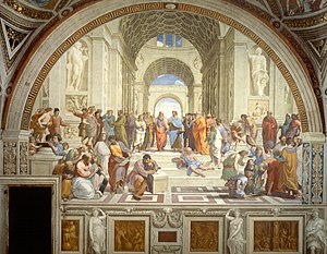 Raphael the school of athens with what philosophy was that person associated
