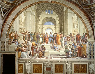 Zoroaster - The School of Athens: a gathering of renaissance artists in the guise of philosophers from antiquity, in an idealized classical interior, featuring the scene with Zoroaster holding a planet or cosmos.