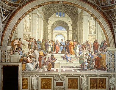 Fresco of an arched space in which many people in classical costume are gathered in groups. The scene is dominated by two philosophers, one of whom, Plato, is elderly and has a long white beard. He points dramatically to the Heavens. A gloomy figure in the foreground sits leaning on a block of marble.
