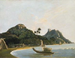 'View of part of Owharre [Fare] Harbour, Island of Huahine'