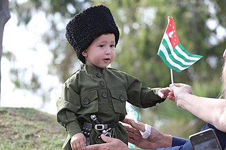 Independence Day (Abkhazia) - An Abkhaz boy wearing traditional Abkhazian clothing during the independence day celebrations in 2017.