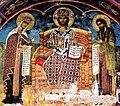 Фреска од Св. Никола Топлички на Христос, Богородица и Јован Претеча.jpg