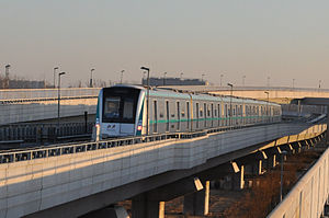 Line 8, Beijing Subway - Line 8 train at Zhuxinzhuang