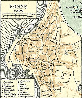 Rønne - Map of Rønne in 1900
