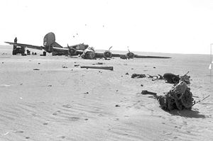 Lady Be Good (aircraft) - Parts were strewn by the Consolidated B-24D Liberator Lady Be Good as it skidded to a halt amid the otherwise empty Libyan desert. Engines 1, 2 and 3 visible in the photograph had their propellers feathered.