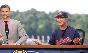 Mike Bianco - Mike Bianco (right) joins SEC Network analyst Chris Burke (left) on the SEC Network set at the 2016 SEC Baseball Tournament