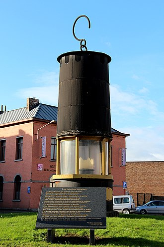 Borinage - This giant mining lamp of the Heribus colliery. It now stands on the square of Cuesmes