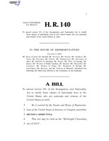 116th United States Congress H. R. 0000140 (1st session) - Birthright Citizenship Act of 2019.pdf