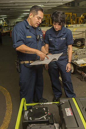 Chief petty officer (United States) - A chief petty officer gives instructions to a seaman aboard an aircraft carrier in 2013.