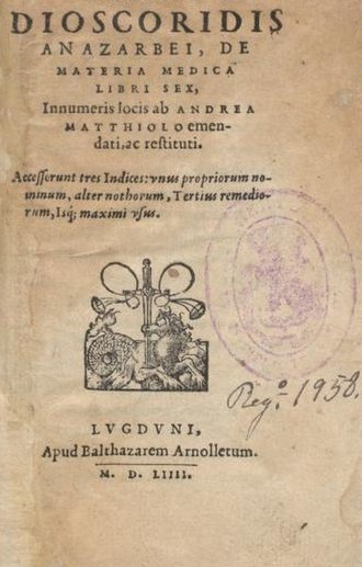 Pedanius Dioscorides - Cover of an early printed version of De Materia Medica, Lyon, 1554
