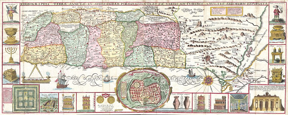 1632 Tirinus Map of the Holy Land - Israel w- numerous insets - Geographicus - HolyLand-tirinus-1632