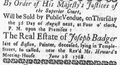 1768 JosephBadger BostonNewsLetter July7.png