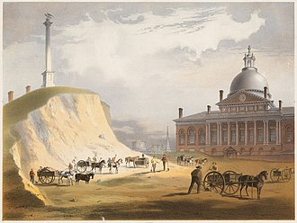 Boston - Cutting down Beacon Hill in 1811; a view from the north toward the Massachusetts State House